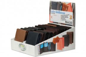 Rinaldo® Displaykarton mit 20 Riegel-Rindslederbörsen im Hoch- und Querformat in sortierten Farben aus naturbelassenem Rindsleder