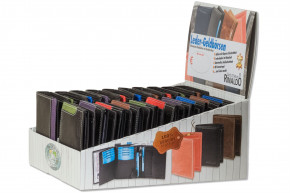 Rinaldo® Display box with 20 bars cowhide exchanges in portrait and landscape format in black with colour stripes