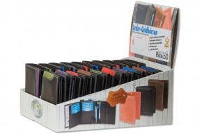 Rinaldo® Displaykarton mit 20 Riegel-Rindslederbörsen im Hoch- und Querformat in Schwarz mit Farb-Design an der rechten Seite