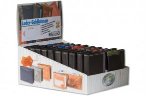 Rinaldo® Displaykarton mit 20 Design-Geldbörsen mit dem Protecto® RFID/NFC-Blocker Schutz im Hoch- und Querformat in Schwarz