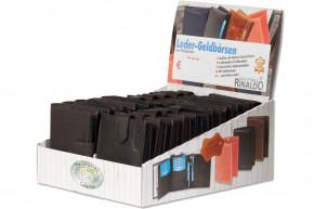 Rinaldo® Displaykarton mit 20 Riegel-Geldbörsen mit hellgrauer Kontrastnaht aus glattem, naturbelassenem Rindsleder
