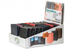 Rinaldo® Displaykarton mit 20 Riegelbörsen mit dem Protecto®RFID/NFC Blocker Schutz im Hoch- und Querformat aus Rind-Nappaleder