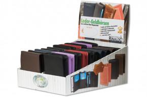 Rinaldo® Displaykarton mit 20 Riegel-Rindslederbörsen im Hoch- und Querformat in sortierten Farben aus Rind-Nappaleder