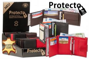 Protecto - Displaykarton mit 20 Damen- und Herren Rind-Lederbörsen mit RFID-Blocker System