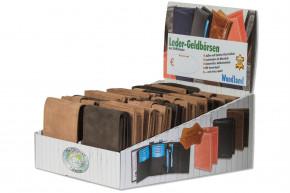 Woodland® Displaykarton mit 20 unserer beliebtesten Riegelbörse in 6 verschiedenen Ausführungen und 2 Farben