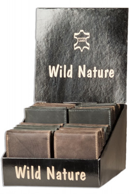 Wild Nature® Display box with 20 cowhide wallets with inside loop in landscape format and assorted colours / Vintage-Look
