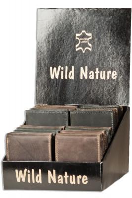 Wild Nature® Displaykarton mit 20 Riegel-Rindslederbörsen im Querformat in sortierten Farben aus naturbelassenem Büffelleder im Vintage-Look