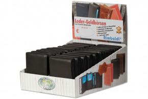Rimbaldi® Displaykarton mit 20 Riegel-Rindslederbörsen im Hoch- und Querformat in Schwarz aus naturbelassenem Rindsleder