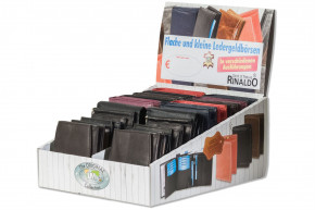 Rinaldo® Displaykarton mit 20 flachen und kleinen Geldbörsen in 10 verschiedenen Ausführungen aus naturbelassenem Rindsleder